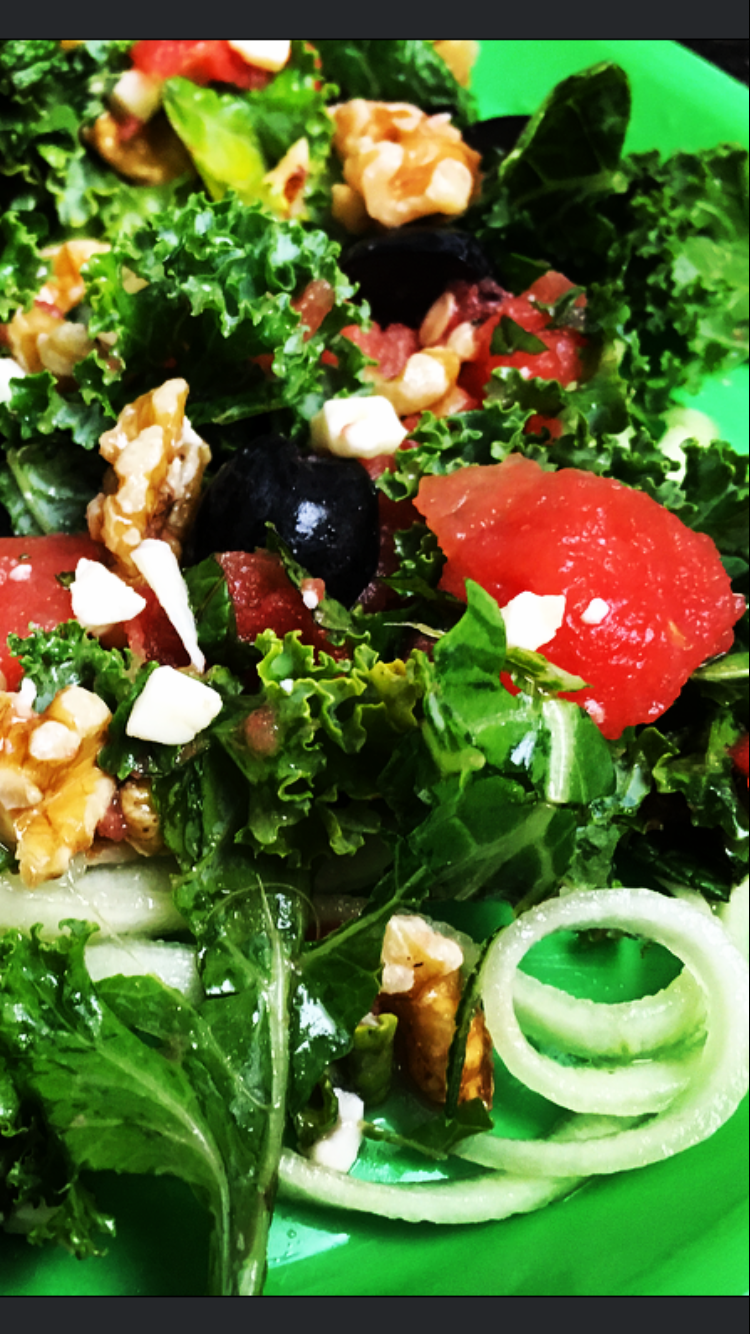 Watermelon Feta Kale Salad