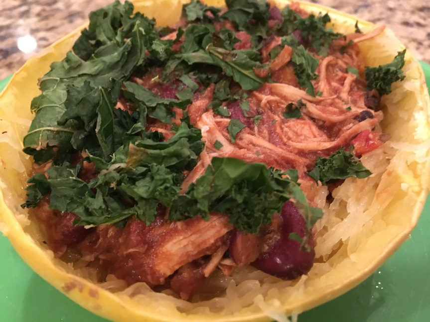 Pulled Chicken Chili over Spaghetti Squash